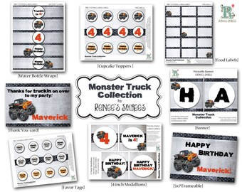 MONSTER TRUCK Collection - Customized DIY Printable Coordinating Design Accessories