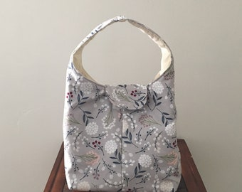 Lunch Bag Insulated - Spring Floral on Gray