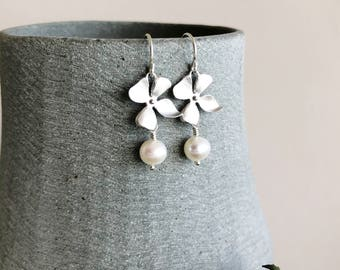 White Natural Pearl Drop Earrings, Sterling Silver Ear Hooks, Small Flower and Pearl Wedding Jewellery, Silver Orchid Wedding Earrings