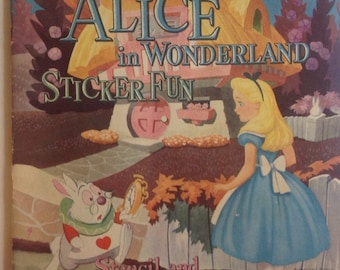 Alice in Wonderland , Sticker Book, Vintage, Walt Disney's, 1951