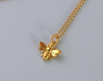 Tiny Gold Bumble Bee Pendant, 18K Gold Over 925 Sterling Silver, Insect, Dainty Gold Necklace, Everyday Necklace, Birthday Gifts - TRF001