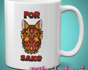For Fox Sake: Day of the Dead Tattoo Style Cartoon Swearing Rude Mug