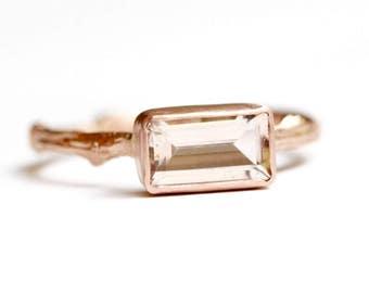 Morganite Twig Ring in Recycled Rose 14k Gold - Baguette Morganite Gemstone - Engagement Ring -Diamond Alternative Engagement -Pink Gemstone