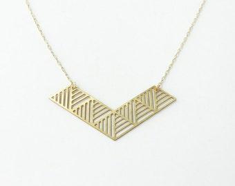 Striped Parallelogram Chevron Necklace | ATL-N-129