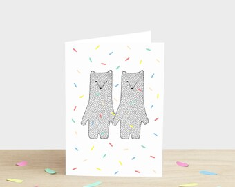 Wedding Congratulations Card Bears Getting Married Engagement Card Celebration Confetti Card Marriage Card Wedding Bear Card