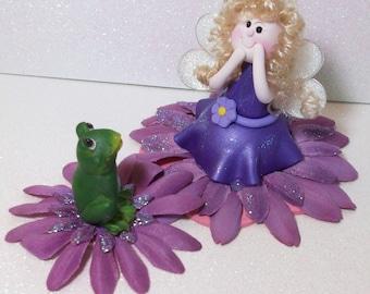 Sale was 18.95, Purple glitter Fairy figurine and Frog Friend: miniatures Fairy Gardens
