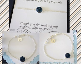 5 Personalized Blue Bridesmaid Bracelet Druzy, Bridesmaid Gift, Initial Jewelry, Sterling Silver, Thank You Card, Bridesmaid, Drusy