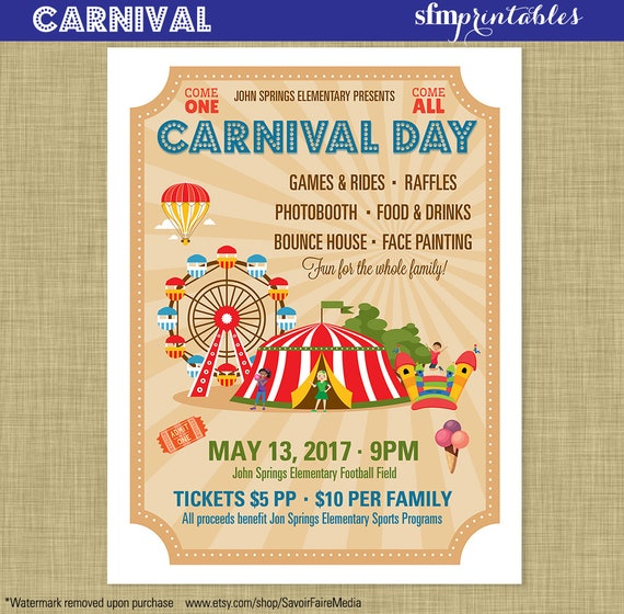 Carnival Flyer Invitation Postcard Poster Template Church
