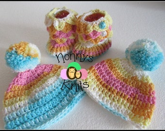 Baby Hats and Boots set, 0-6 Months. Made to order only