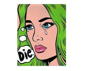 Grumpy Green Girl Print