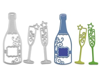 Champagne Bottle and Glass Metal Cutting Die Set