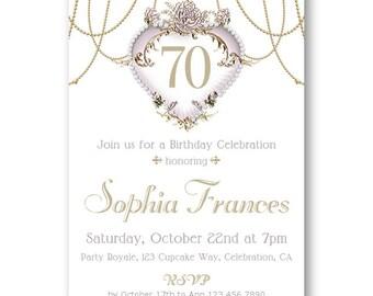 Printed or Printable 70th Birthday Invitation for Women, Elegant Birthday Invitations for Women, 70th Birthday Printed Invitations / digital