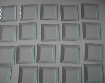 "Glass Squares-Vintage 3"" Beveled Glass- 20 pieces"