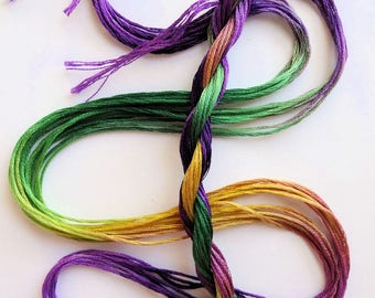 "Embroidery floss ""Mardi Gras"" hand dyed cotton"
