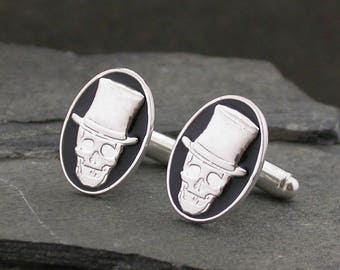 Silver Skull Cufflinks, Men's Black Enamel Skull Cufflinks, 925 Sterling Silver, Gothic, Alternative, Wedding, Mens Jewellery, Unique, Groom