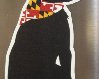 Dock Buddy Magnet or Decal Maryland Bandana on a Classic Dog from the Maryland, Baltimore, Chesapeake Bay area.