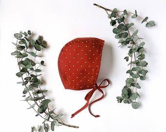 Organic cotton Red baby bonnet