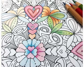 Printable Hearts Mandala Colouring Page