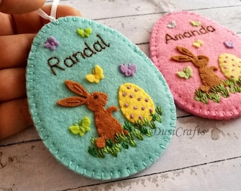 Personalized Easter gift, Personalised Easter ornament,  Easter Party, Felt Egg Easter Candy Holder Easter gift with Name