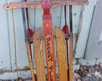 Old Wooden Vintage Solid Wood Rocket Plane Snow Sled Winter Cabin Metal