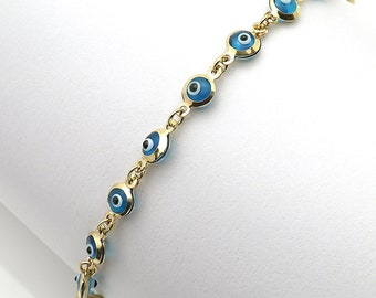 "14k Yellow Gold Good Luck Evil Eye Cable Charm Bracelet 7.25"""