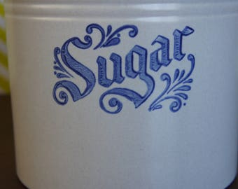 Pfaltzgraff Yorktowne Sugar Canister Crock White Blue