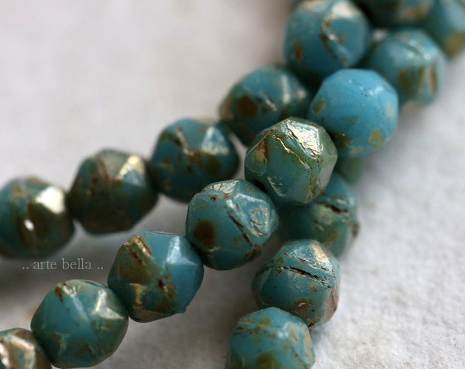 SILVERED SKY NUGGETS 4mm .. New 50 Premium Picasso Czech Glass English Cut Beads (6552-st)