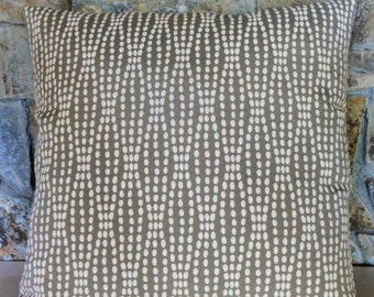 "Pearl Strands on Taupe Grey Pillow Cover//20"" Custom Pillow Cover"
