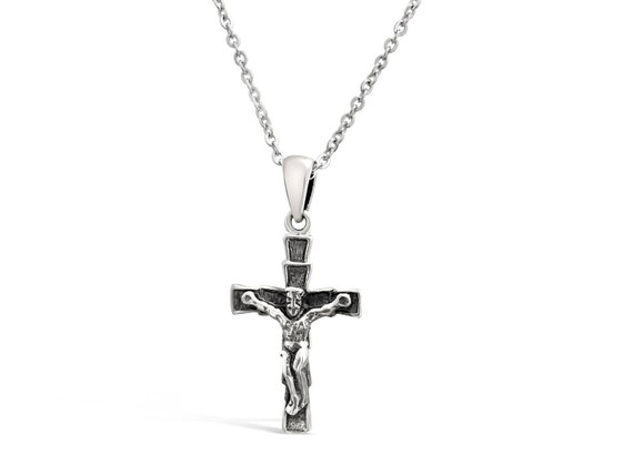 Small silver crucifix pendant silver cross with jesus like this item mozeypictures Images