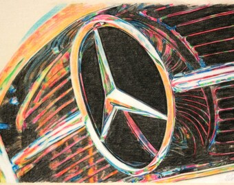 Original, one-off drawing of the grille of a Mercedes Benz sports car, in charcoal and pastel on calico