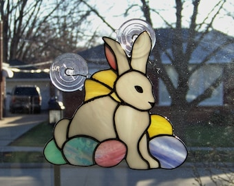 Easter Bunny with Yellow Ribbons and eggs