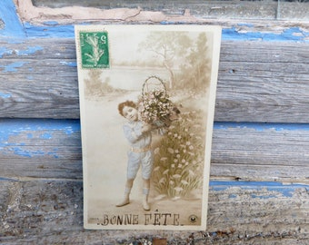 Vintage Antique 1900/1910 French real recolored photography postcard boy with  bouquet in a basket