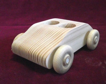 Original Unfinished Pine 2 Seater Car WITHOUT 2  Peg Dolls