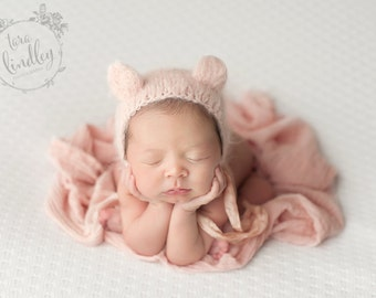 Pink Bear Bonnet (Newborn)