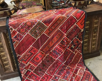 Antique Vintage  Original Tapestry Red Hand Crafted Beade d RUG Wall Hanging Decor FREE SHIP