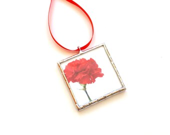 Red carnation flower ornament, Spring decor photo ornament, flower photography, carnation ornament, stained glass ornament