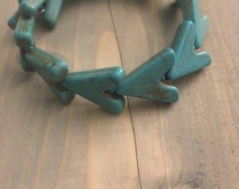 Turquoise Color Blue Arrow Memory Wire Cuff bracelet