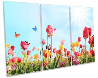 Tulip Flower Field Floral CANVAS WALL ART Treble Box Frame Print