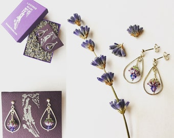 Lavender Botanical Jewelry Glass Jewelry Gifts for Her Drop Earrings, Nature Jewelry Flower Earrings Sterling Silver Herbal Crystal Earrings