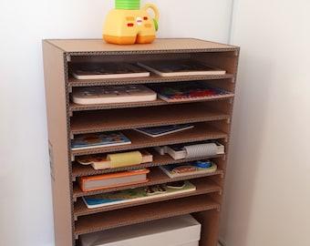Printable Tutorial DIY Cardboard Puzzle Shelf Storage and car parking