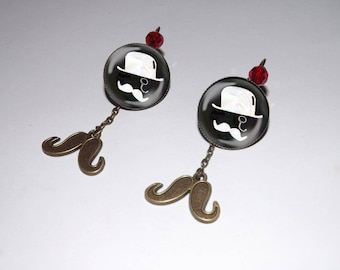 mustache london Red Crystal Pearl Earring designer jewelry