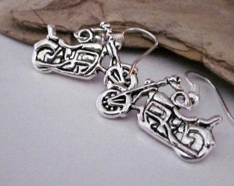 Men's Jewelry, Motorcycle Earrings, Silver Motorcycle, Silver Earring, Harley Wanna Be, Motorcycle Charm, Small Dangle Earring