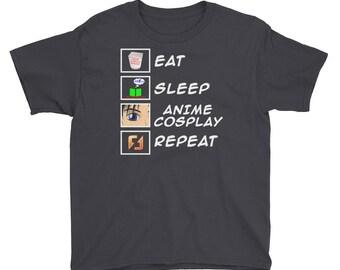 Eat Sleep Anime Cosplay Repeat Youth Short Sleeve T-Shirt