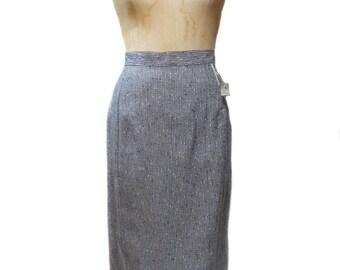vintage 1980s salt & pepper pencil skirt / black white gray / midi skirt / 1950s 1960s style skirt / women's vintage skirt / size 7/8