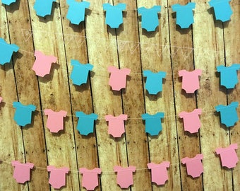 Baby Shower Decorations, Baby Outfit Garland, Boy or Girl Baby Gender Reveal Its a Boy Decor, It's a Girl Decor, Gender Reveal Party