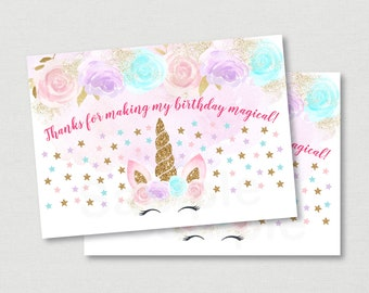 Unicorn Birthday Thank You Tags / Unicorn Birthday / Pink & Gold Unicorn / Floral Unicorn / Favor Tags / Printable INSTANT DOWNLOAD A451