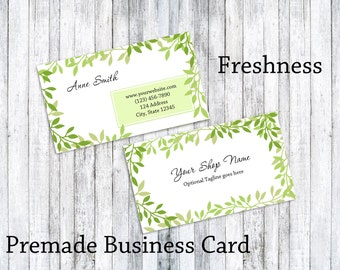 Business Card - leaves business card - Green leafy business card - pre-made business card