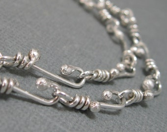 Sterling Silver Ball End Wire Wrapped Handmade Chain Necklace, Handmade Wrapped Wire Link Chain Necklace