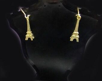 Choose Gold or Silver Eiffel Tower Themed Dangle Earrings Jewelry