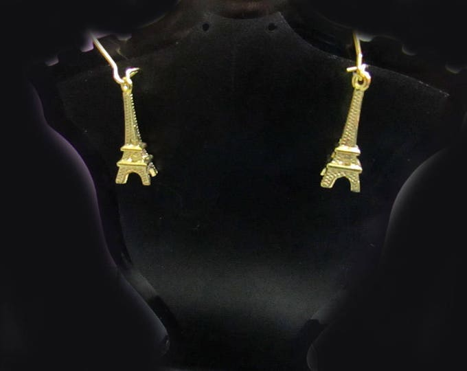 Choose Gold or Silver Eiffel Tower Themed Dangle Earrings Jewelry